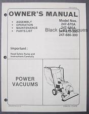 MTD Power Vacuum Owners Manual 247-670A, 247-680A, 247-670-300, 247-680-300