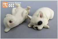 French Bulldog Sleep White Dog Hand Painted Resin Figurine Statue A pair