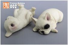 French Bulldog Sleep White Dog Hand Painted Resin Figurine Statue A pair 03