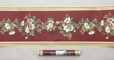 "York 2 Rolls Prepasted Floral Burgundy Green Yellow Decorative Border 10.25""tall"