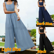 Women Sleeveless Denim Playsuit Dungarees Harem Wide Leg Jumpsuit Overalls Pants