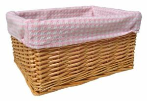 Wicker Storage/Baby Basket PINK GINGHAM Lining-Natural 24cm x 18cm and 12cm