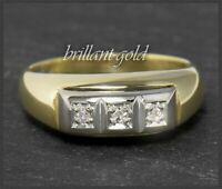 Damen Ring mit 3 Diamanten, Bandring um 1950, aus 585 Gold, Gelbgold & Weißgold