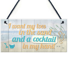 Cocktail In My Hand Plaque Nautical Decor Sign Beach Kitchen Birthday Home Gifts