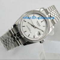 36mm PARNIS Silver dial 21 jewels miyota luminous Date automatic mens watch 2041
