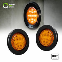 "2pc 2.5"" DOT Amber Round Trailer LED Marker Lights w/ Grommet for Truck"