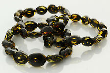 Lot of 3 Faceted Olive Beads Genuine Baltic Amber Stretch Bracelet 25.7g b0913-7