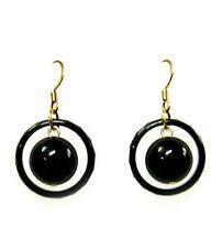 Black Agate bead dangle earrings on gold plated earwires EAR230006