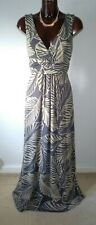 Boden pewter & taupe palm leaf stretch long maxi dress size 14
