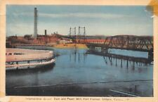 (141) Postcard of Dam and Paper Mill, Fort Frances, Ontario, Canada