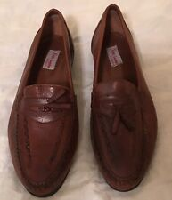 Vintage Nino Segurini  Brown Leather Loafer Shoes with Tassels, Size 12 M