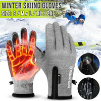 Pair Touch Screen Gloves Thermal Winter Sport Skiing Warm Mittens Men Women Grey