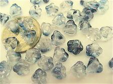 100 Crystal Ice Bell Flower Czech Glass Beads 6mm x 4mm