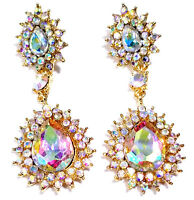 AB Chandelier Earrings Rhinestone Crystal 2.8 inch Pageant Bridal Drag Prom