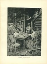 Early 1900s Antique Forest Hunting Print ~ Lunch at Half Way House