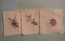 Lot of 3 Vintage Ladies White Hankies Handkerchiefs w/ purple embroidery flowers