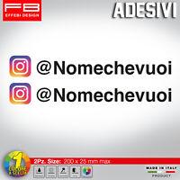Adesivo Stickers INSTAGRAM +SCEGLI IL TUO NOME USER NAME social MOTO AUTO TUNING