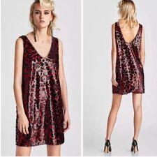 974ed67a1f4 ZARA Dress Leopard Sequin Minidress Red Black Size Small Low Back