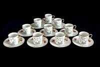 Demitasse Coffee Can CUP & SAUCER SET of 10 from CASTEL Limoges, Made in France