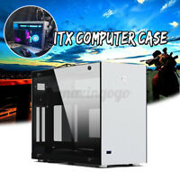 Mini PC Case Aluminum Alloy Tempered Glass ITX Computer Gaming Case USB 3.0