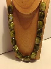 Vintage Chinese cloudy green Bakelite Bead 196 gram antique necklace (m1278)