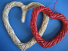 """2  Willow Heart- Shaped  Wreaths 10"""" NATURAL 8"""" Red  VALENTINE"""