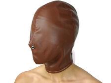Isolationsmaske braun Full Face Hood ohne Öffnungen Ledermaske Kopf Maske Nr2775