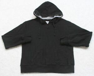 Reflex Medium Black Hooded Sweatshirt Women's Woman's Top Solid Cotton Polyester