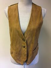 St Michael From M&S Women Waistcoat Brown Suede Leather Size 10-12 (09)