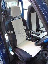 TO FIT RENAULT MASTER VAN SEAT COVERS LWB WHITE + BLACK LEATHERETTE