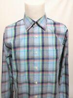 Peter Millar Multi Blue Pink Green Plaid Long Sleeve Shirt Mens Size Large