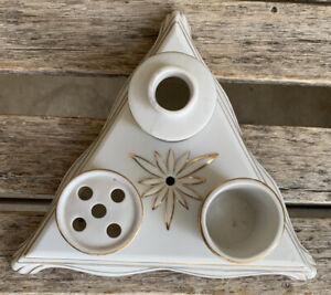 1968 Mariann Original Porcelain/Ceramic Inkwell, Pen Holder Gift Quality RARE