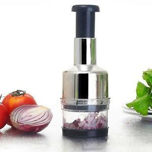 Manual Hand Press Garlic Onion Vegetable Food Chopper Cutter Processor Dicer uk