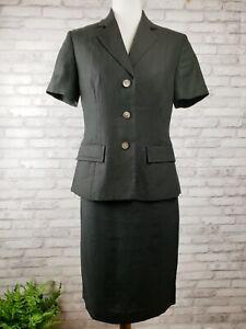 Laura Ashley sz 6 short sleeve jacket and pencil skirt suit set black 100% linen