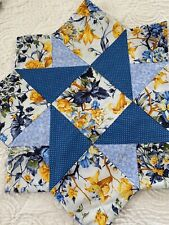 VINTAGE Handmade Twisted Star QUILT Set 6 Placemats 1 Center And 6 Napkins #565
