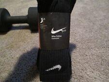 NEW 3 Prs NIKE UNISEX Performance Cushioned CREW Socks BLACK LG FREE SHIP