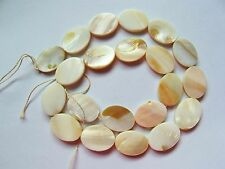 MOP Mother of pearl shell cream white flat 18mm x 13mm oval beads 16""