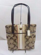 NEW NWT COACH Signature Multi Stripe bag purse Handbag Tote 24666 Khaki