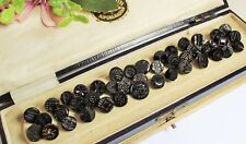 RARE JOB LOT VICTORIAN BLACK GLASS BUTTONS - FOR VICTORIAN CLOTHING / COLLECTING