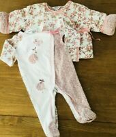 Bebe Baby Girl Size 00 Padded Jacket and All in One Set Cream Floral Long Sleeve