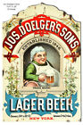 VINTAGE ANTIQUE Style Metal Sign Doelgers Sons Beer Cutout 15x24