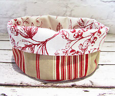 Scandi country style fabric bread storage basket- Red Beige Ticking Stripe Toile