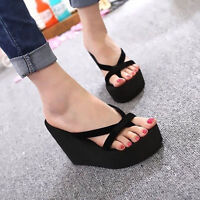 Women Summer Flip Flops High Heel Slippers Platform Wedge Sandals Beach Shoes