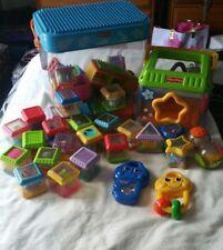 Fisher Price Peek a Boo Blocks Lot Musical Stacking Toys w/carrying bin