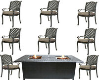9 piece outdoor dining set with fire pit propane cast aluminum table and chairs