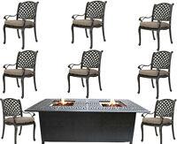 Cast Aluminum Patio Furniture 9 Piece Dining Set Elisabeth Double Burner Table.