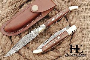 HUNTEX Custom Handmade Damascus 110 mm Long Hunting Folding Pocket Lagouli Knife