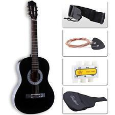 """38"""" Acoustic Guitar Beginner Nylon Case Strap Tuner & Pick 6 Steel Strings Black"""
