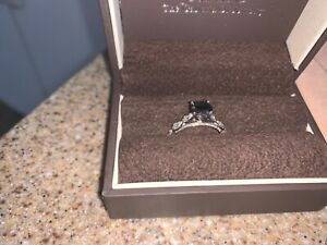 Women's black diamond engagement ring