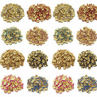 wholesale 50/100Pcs Crystal Gold Plated Spacer Loose Beads Charms Making 8mm